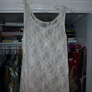 S off-white sparkly lace tank nylon spandex hi-low